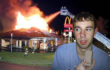 im not sure why, but i found a pic of a mcdonalds fire and mcdonalds zippos so 1+1+danwho=gold